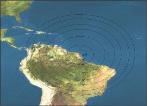 D'Haïti à Brasilia et du Pérou à l'Atlantique, les satellites SPOT 2, 4 et 5 effectuent entre 3 et 7 passages par jour. Ci-dessous, le cercle de réception de l'antenne SEAS Guyane en fonction de son angle d'orientation.